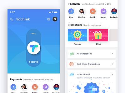Tez   Payment App Redesign uiux cards gradients blue blockchain wallet app tez app sketch template payment mobile app