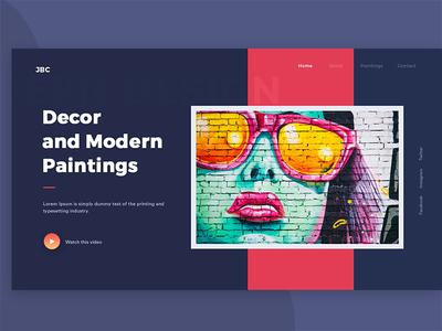 Decor & Paintings dark theme colorful uiux web header creative unsplash arts paintings modern decor