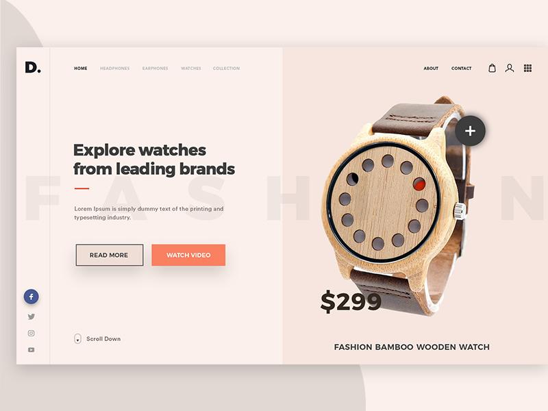 Wooden Watches web header unsplash uiux shopping modern brands light theme creative watches wooden