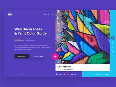 Wall Decor And Paintings decor modern paintings arts unsplash creative web header uiux colourful light theme