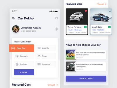 Car Dekho Redesign logo mobile ios gradients modern color uiux creative typography dealers car dashboard sell car car dekho interface app clean design