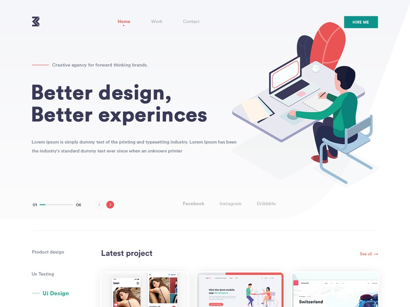 Portfolio Design gradients trending illustration concept modern typography uiux website color interface clean creative design