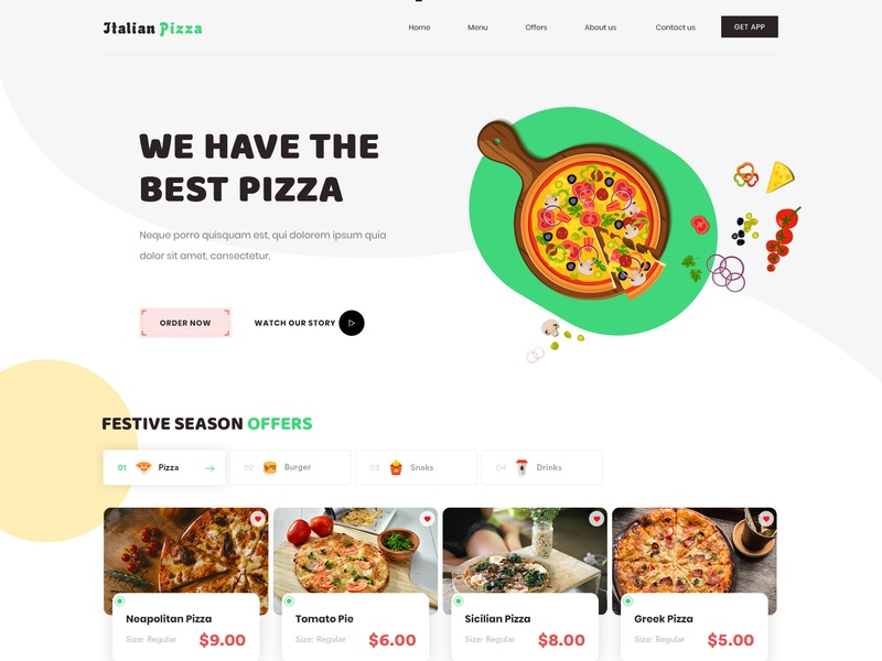 Pizza Website lunchbox website creative interface clean typography illustration food and drink pizza design