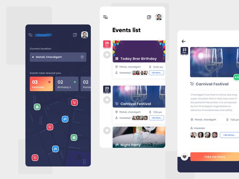 Event App map design chirstmas event icon artwork location based party event birthday cake creative interface uiux event app dark theme app design