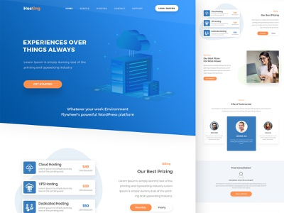 landing Page blue and yellow clean typography uiux landing  page hosting creative interface branding modern website illustration design