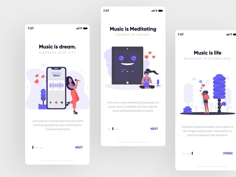 Music Onboarding Screen music app gradients app creative design modern uiux interface icons set graphic  design illustration art onboarding screen