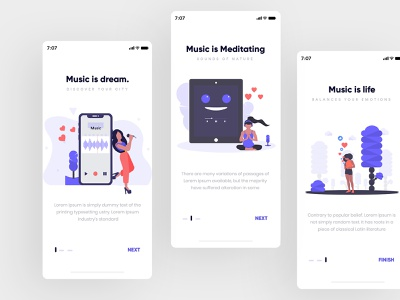 Music Onboarding Screen music app gradients app creative design modern uiux interface icons set graphic  design illustration art onboarding screen
