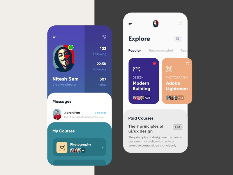 Courses clean mobile typography branding gradients sketch app app design modern uiux uidesign interface education app courses app creative illustration design