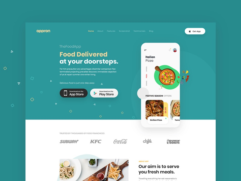 App Landing Page branding website interface creative food app ui green app modern color app landing page illustration design