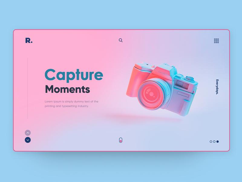 Capture Moments creative modern design camera typography gradients colorful gradient color uiux interface website modern illustration design