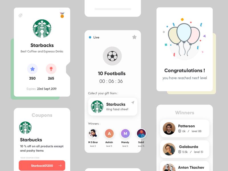 App Design product design starbucks football app gaming app mobile app design typography gradients interface clean concept app design uiux illustration creative modern design trending ui