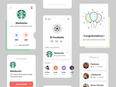 App Design product design starbucks football app gaming app mobile app design typography gradients interface clean concept app design uiux illustration creative modern design trending ui