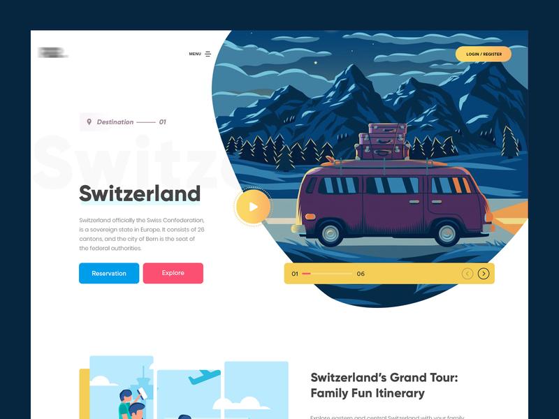 Switerland tour website texture clean and creative branding website uiux gradients typography creative interface modern website design tourists illustration