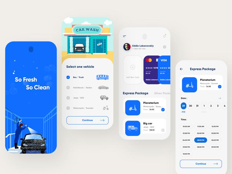 Vehicle Wash App trending concept color app mobile branding clean design uiux typography car washing creative interface modern illustration vehicle wash