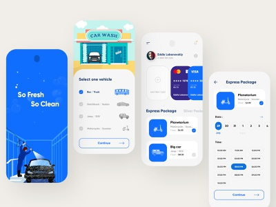 Vehicle Wash App trending concept color app mobile branding clean design uiux typography car washing creative interface modern illustration vehicle wash