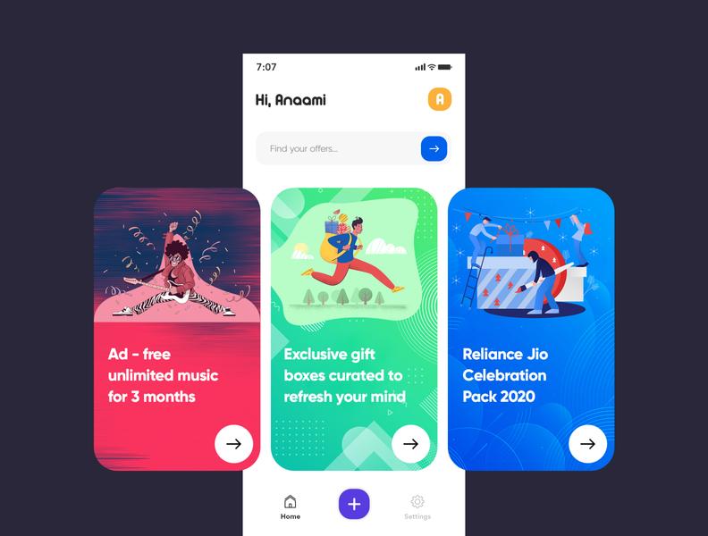 Offers App design rewards offers branding clean uiux app typography modern creative interface illustration design