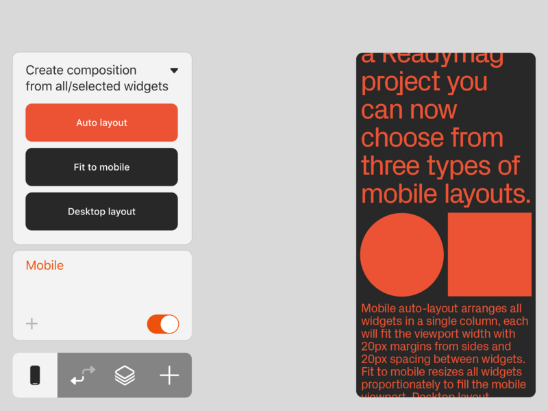 Design mobile layouts faster desktop layout automatic auto ux design readymag interface mobile