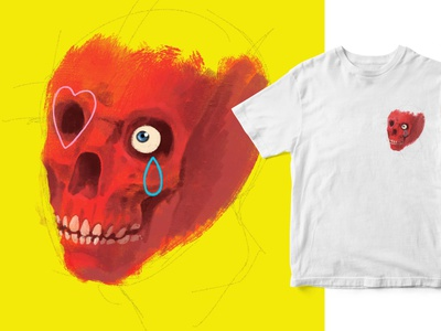 Red Skull tshirt design illustration