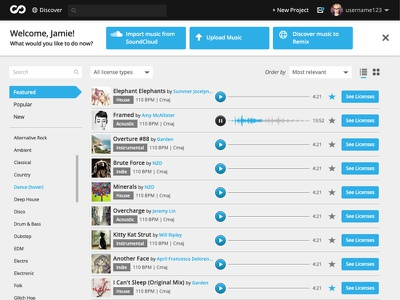Skio Music Discover Page skio music ui layout website