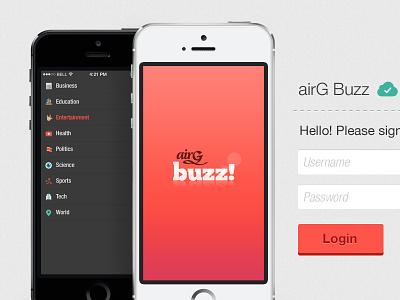 airG Buzz CMS Login airg buzz website cms ui layout