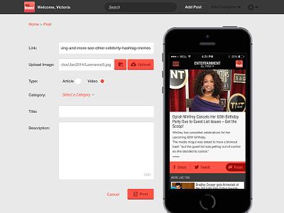 airG Buzz CMS Add Post airg buzz website cms ui layout