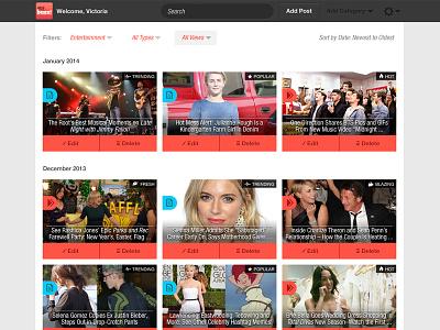 airG Buzz CMS Manage Posts airg buzz website cms ui layout