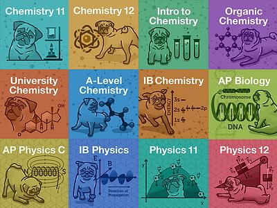 StudyPug Science Textbook Covers studypug science pugs illustration