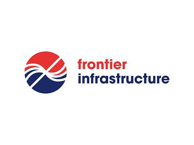 Logo with brandmark for Frontier Infrastructure brandmark logo symbol sign mark frontier aquaculture
