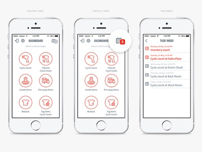 Checkpoint Systems Mobile - Dashboard Screens icons outline logistics warehouse storage scan locate saas iphone