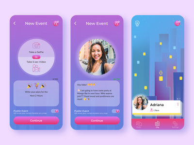 🏙 Clabl app - New Event Creation 🥂 eventsapp events selfie newevent createevent abstract mobileapp uiux ux ui gradient purple datingapp party partyevent nightcity city appdesign design app