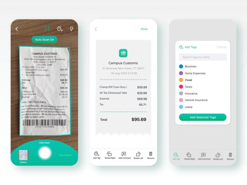 Taxplain App - Receipt Scanning with tagging camera photo appdesign productdesign ux ui invoice snapping taxes app gradient snap bill tagging tags scanning receipt mobile app taxplain
