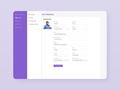 Edit Profile purple design profile user picture user info navigation sidebar menu menu my profile edit ux ui