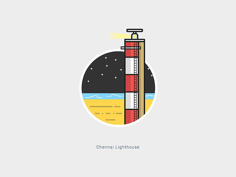 Chennai Lighthouse help light beach landmark famous lighthouse sailesh india chennai illustration stroke