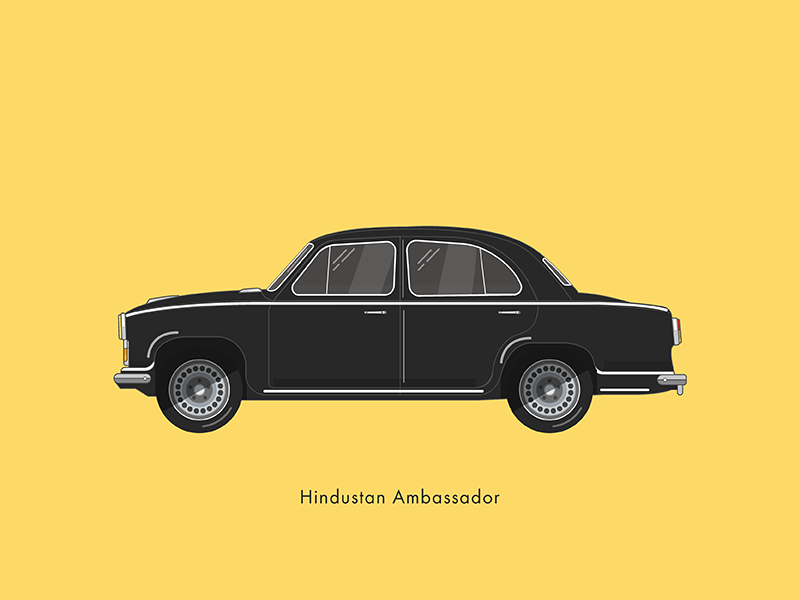 Hindustan Ambassador retro automobile auto car famous color flat sailesh india chennai illustration stroke