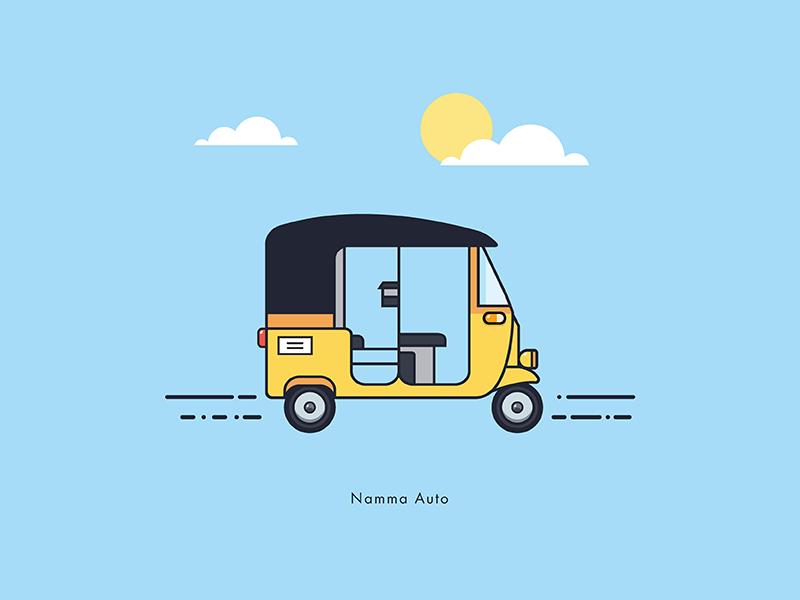 Namma Auto vehicle travel flat minimal famous auto sailesh india chennai illustration stroke