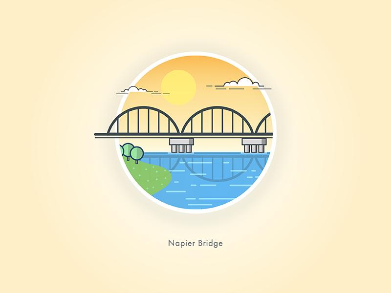 Napier Bridge nature sunset landmark famous bridge napier sailesh india chennai illustration stroke