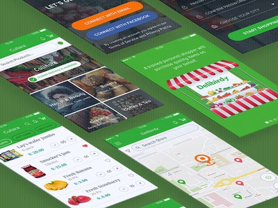 Free Download Grocery App UI Kit on demand tracking app social app food app ui online shopping shopping app delivery app super market grocery app