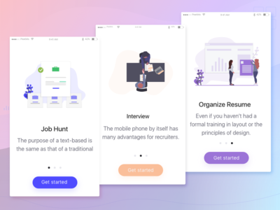 Job App Walkthrough/Introduction/Onboarding trend 2019 illustration resume interview job app onboarding illustration introduction onboarding screen walkthrough