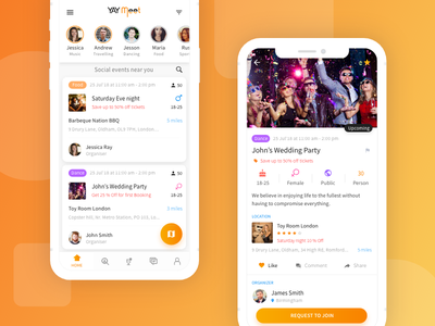 Social Create Book Event Party App Design event planning social app party event event app event management event organizers freebie music party chat
