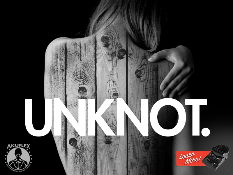 Unknot pain marketing advertising red white black wood neck unknot