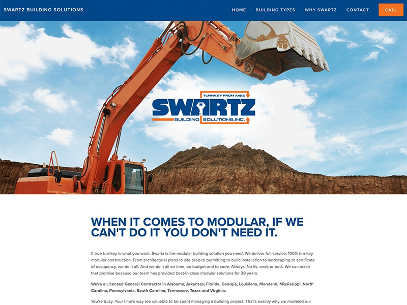Swartz website build orange blue marketing internet web advertising building modular branding