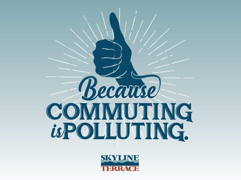 Commuting is Polluting advertising apartment mountains nc boone clean environmental polluting commuting blue