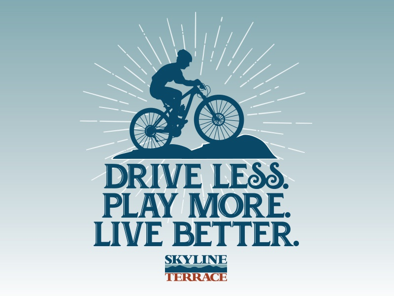 Drive Less advertising apartment mountains nc live play bike boone environmental polluting commuting blue