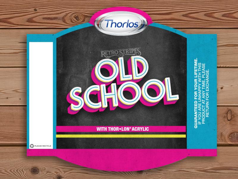 Old School retail packaging nc socks pink blue 80s school old stripes retro