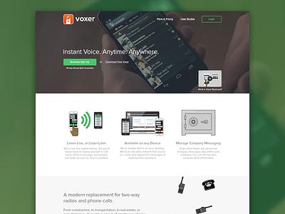 Voxer Homepage voxer website landing page landing homepage app