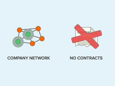 A Few Benefits icon benefits contract no contract network company network company voxer