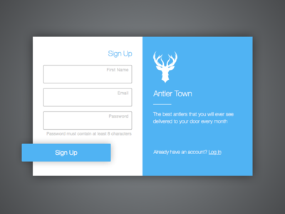 Sign Up Screen for a new service coming out soon antlers antler town registration sign up