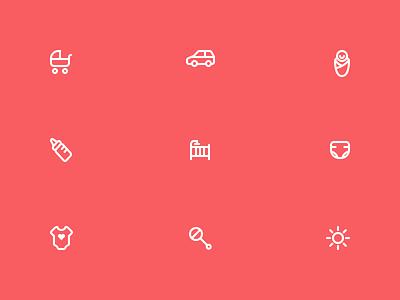 Babylist Icons icons icon sun icon rattle icon clothes icon diaper icon crib icon bottle icon wrap icon car icon stroller icon