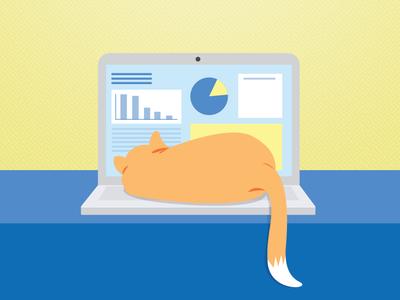 Kitty illustration illustrator laptop orange vector computer kitty cat
