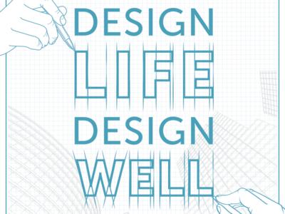 ASID Partnership poster- White text textual font draw sketch illustration blueprint grid interiordesign design posterart poster